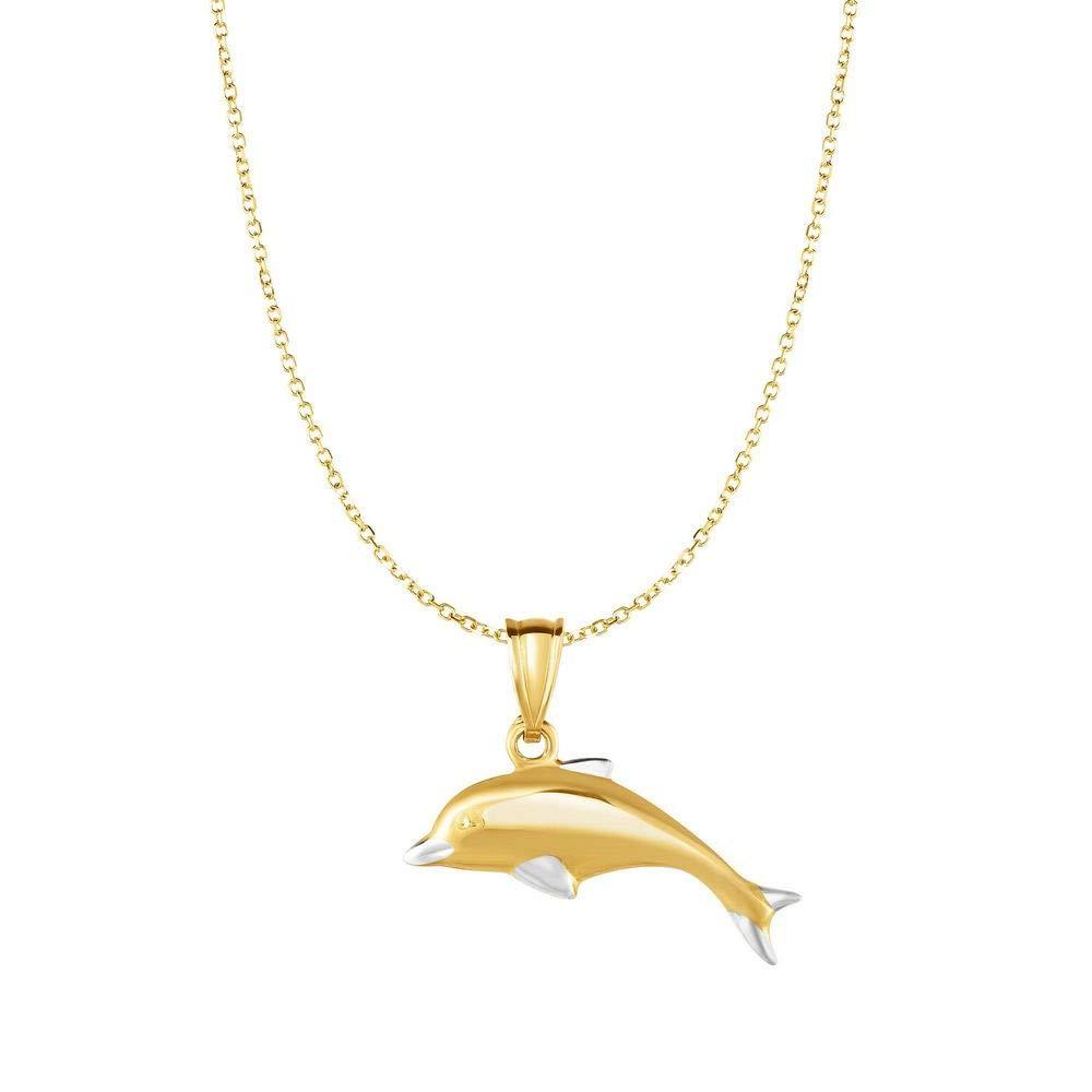 10K Gold Gelb Anhänger Delfin 10Kt Gold Gelb 0,8mm 925Diamantschliff Kabel Kette Halskette–46Zentimeter JewelryWeb RCP319604Y