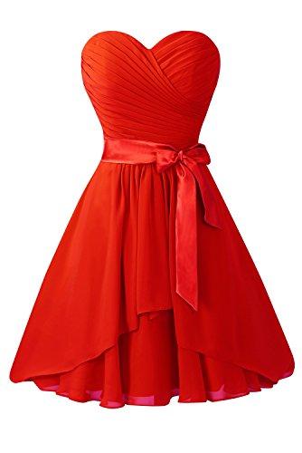 Robes Courtes De Demoiselle D'honneur En Mousseline De Soie Avec Le Rouge De La Ceinture Arc Bess Femmes De Mariée