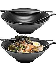 Two Ramen Bowl Set, 6pcs Set with Chopsticks, Black Melamine Bowls with Ladle Spoons and Large 37 oz Noodle Bowl
