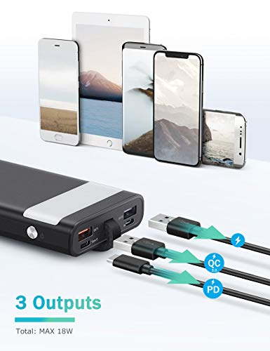 MOSFiATA 18W 10000 mAh USB C Power Bank, PD+QC 3.0 USB- C Fast Charger, 2 Input and 3 Output Portal with High-Speed Charging Tech, Emergency Flashlight and Leather Rope for Easy Carrying