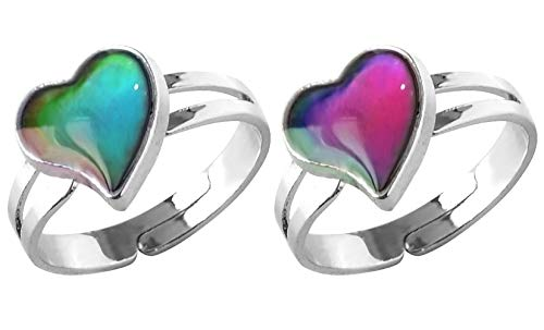 Acchen Mood Ring Love Heart Color Changing Emotional Feeling Adjustable Size Mood Rings 2pcs(Love Heart)