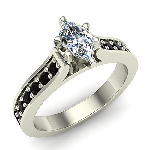 Black & White Diamond Marquise Engagement Ring 3/4 Carat Total 14K Gold Center Color I Clarity I1