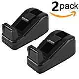 Ktrio Mini Desktop Tape Dispenser for 1/2 or 3/4in Scotch Magic Tape, Staples Invisible Tape,Sparco Invisible Tape,BSN, Non-slip, Size 4.1x1.7x1.7 Inch, 2 Pack, Black