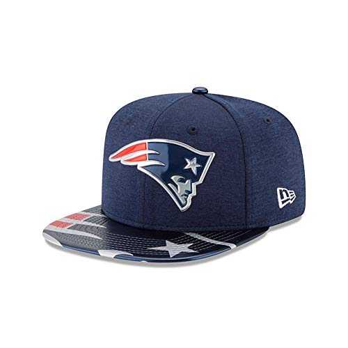 Navy New Era Leather - NFL New England Patriots 2017 Draft On Stage 9Fifty Snapback Cap, One Size, Navy