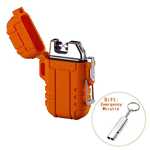 Dual Arc Lighter USB Rechargeable Plasma Lighter Waterproof and Windproof Mini Size for Outdoor Camping (Orange)