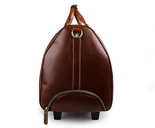 Mens Leather Travel Duffel Bag Brown Weekend Wheeled Carry ON Luggage Bags by Huntvp (Image #2)