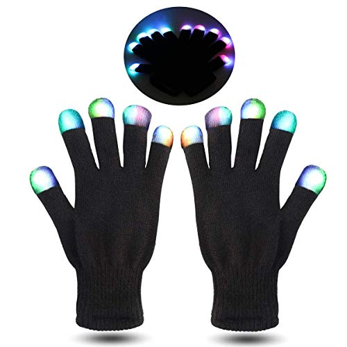 MUCH LED Gloves Finger Lights Fingertips Flashing 3 Colors 7 Modes Black Rave Gloves Halloween Costume Party Favors Light Up Toys Novelty (Black)