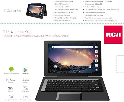 RCA Galileo 11.5 inches 32 GB Touchscreen Tablet Computer with Keyboard Case Quad-Core 1.3Ghz Processor 1GB Memory 32GB HDD Webcam WiFi Bluetooth Android 8.1 (11.5 inches, Charcoal) (Renewed)