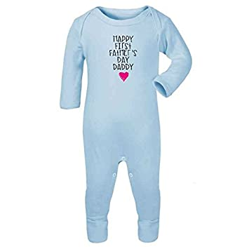 Happy First Fathers Day Daddy  Cute Newborn Baby Outfit Pink Baby One Piece
