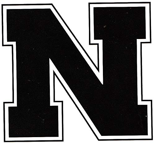 3 Inch Black N Logo University of Nebraska Huskers NU Cornhuskers Removable Wall Decal Sticker Art NCAA Home Room Decor 3 by 3 Inches