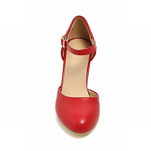 MissSaSa Damen modern Chunky high heel Knöchelriemchen Pumps mit Pailletten Rot