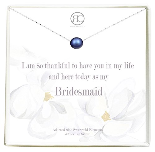 Bridesmaid Gifts Royal Crystals Sterling Silver 925 Dainty Necklace for Women adorned with Swarovski Elements,18