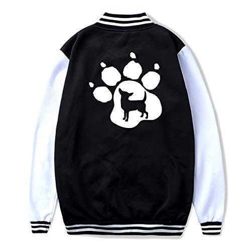 (Unisex Teen Baseball Uniform Jacket Chihuahua Dog Pet Paw Coat Sport Outfit, Back Print)