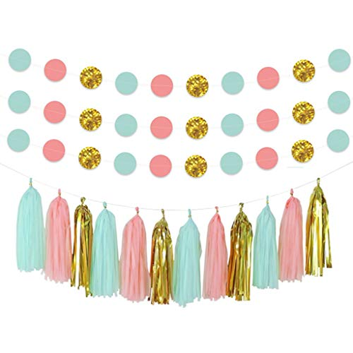 Cieovo DIY Tissue Paper Tassel Party Garland and Paper Garland Pink Gold Glitter 2'' Circle Dots Decoration Fringe Garland Nursery Banner for Wedding, Baby Shower, First Birthday, Event & Party Decor