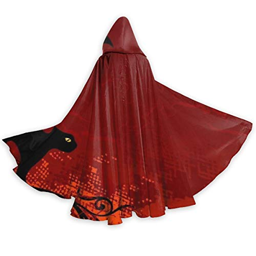 Women Men Halloween Black Cat Full Length Hoodie Dress Cloak for Halloween Witch Party Costume, Vintage Tunic Devil Cloak Outwear