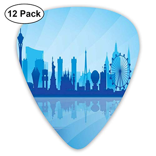 Celluloid Guitar Picks - 12 Pack,Abstract Art Colorful Designs,Silhouette Of An American City With Various Landmarks Nevada Downtown,For Bass Electric & Acoustic Guitars. -