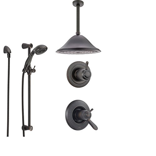 Delta Lahara Venetian Bronze Shower System with Thermostatic Shower Handle, 3-setting Diverter, Large Ceiling Mount Rain Showerhead, and Handheld Shower SS17T3883RB Delta Faucets