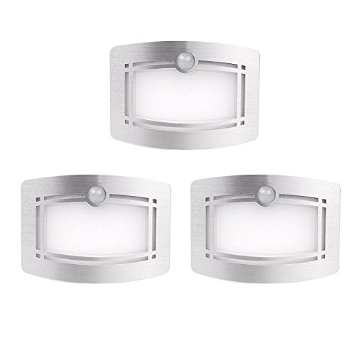 Motion Sensing Closet Lights, OxyLED Wall Light, Luxury Aluminum Stick-on Anywhere Wall Lamp Scones, Indoor Security Light for Stair/Kitchen/Bathroom/Laundry Room/Hallway (3 Pack, Battery Operated) (Fan Ceiling Bathroom Premium)