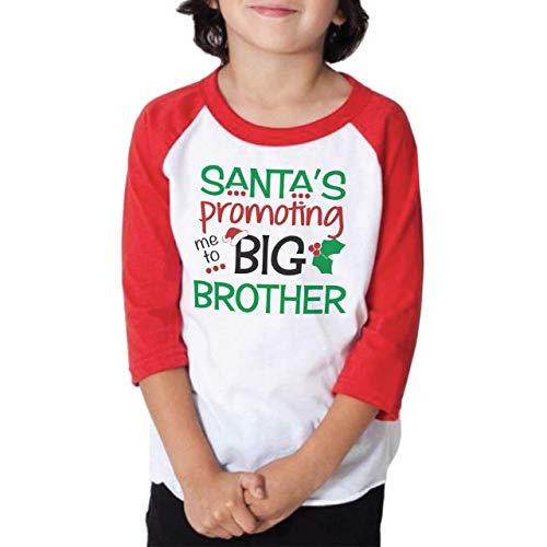 Kids 3/4 Sleeve Boys Promoted to Big Brother Christmas Raglan Shirt (2T, Red)