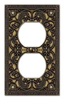 (Amerelle 65DAB Filigree Cast Metal 1 Duplex Outlet Wall Plate, Antique)