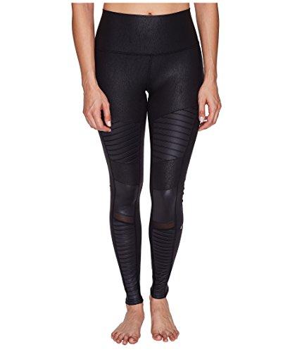 Alo Yoga Women's High Waisted Moto Legging, Performance Leather/Black Glossy, XS ()