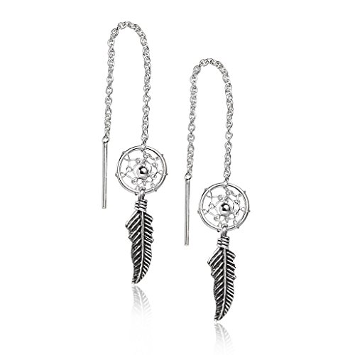 (Feather Chain Dream Catcher Earrings - Sterling Silver Good Luck Drop Dangle One Pair Set)