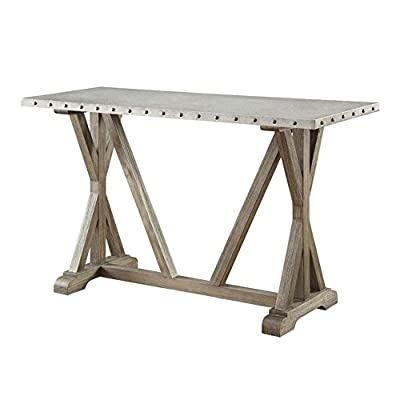 Rustic Sofa Table with Nailhead Trim Driftwood - Set includes: One (1) sofa table Materials: Solid wood and galvanized Finish Color: Driftwood - living-room-furniture, living-room, console-tables - 41dcy7Z8cSL. SS400  -