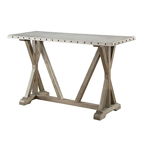 Rustic Sofa Table with Nailhead Trim Driftwood For Sale