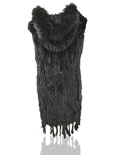 Uilor Noir laine naturel de en 100 de Veste lapin fourrure UwURSrq