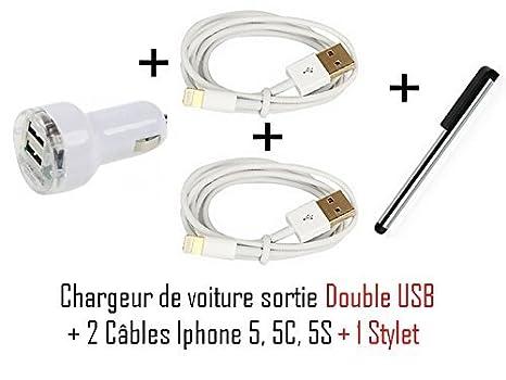 Cabling® iPhone 5 - Mini cargador de coche 2 x USB + dos ...