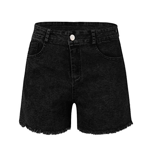 WOCACHI Womens Jean Shorts Low Waist High Waisted Slim Washed Ripped Hole Short Mini Sexy Denim Pants Shorts with Pockets Tassel 2019 Summer Deals Skinny Button Down Blue ()