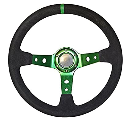 STR 13' Rally / Drift / Race Steering Wheel, 2' or 3' Dish, Black/White/Blue/Red/Green/Silver/Gold (Silver, 3') 2 or 3 Dish 3)