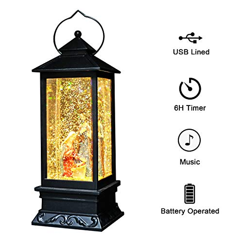 DRomance Singing Snow Globe Battery and USB Powered Lighted Water Lantern 12 Inch Tall, Glittering with Music Christmas Gift Snow Globe for Kids, Water Snow Glitter Globe Christmas Decoraton Nativity