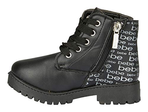bebe Toddler Girls PU Lace up Combat Boots Size 6 Comfort Slip-On Mid-Calf Short Shoes Black ()
