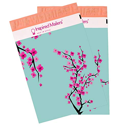 Inspired Mailers - Poly Mailers 10x13 - Cherry Blossoms (Writable Label) - 100 Pack - 3.15mil Unpadded Shipping Bags