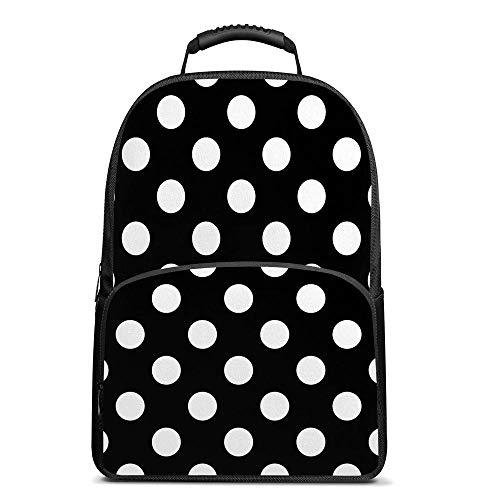 Black and White Polka Dot Backpack School Book Bag Camping Daypack Bag Lightweight for Women Men 17 Inch Laptop Bag (17 Inch Laptop Bag Polka Dot)