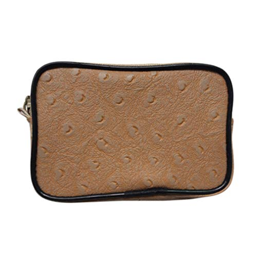 - MOONQING Men's Tray Wallet PU Leather Cash Coin Wallet Key Chain Mini Portable Embossed Zipper Slim Pocket Bag,Light Brown