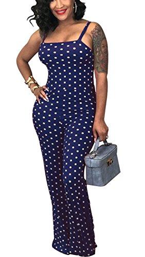 Bluewolfsea Womens Summer Strappy Polka Dot Sleevless Bodycon Wide Leg Long Pants Jumpsuit Romper
