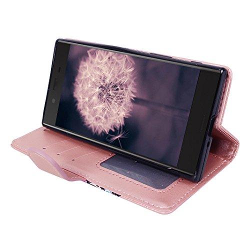 Sony Xperia XZ Flip Funda, Moon mood PU Cuero Billetera Cartera Estuche con Tapa Libro Carcasa para Sony Xperia XZ Smartphone Protecotra Piel Cobertura Capas Caja de Teléfono Cáscara Cierre Magnético  Oro rosa
