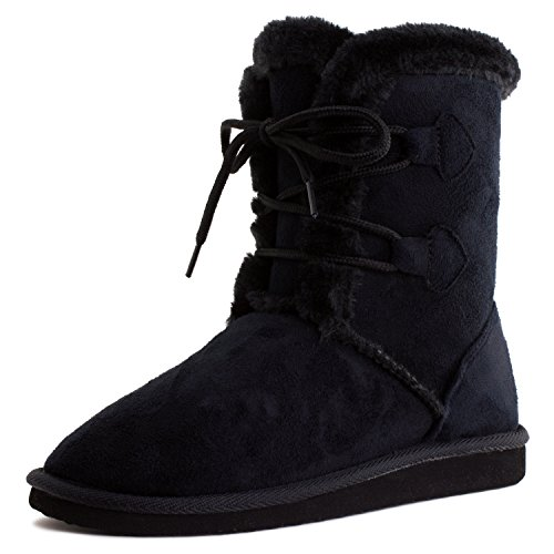 Boots Basic Calf Black Lace Suede Link Front Faux Mid Womens Adults Up FqTwn5O1zx