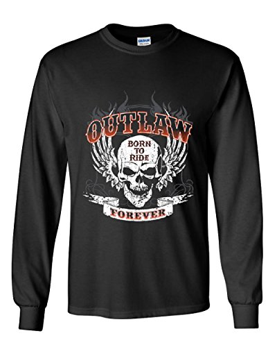 Outlaw Forever Long Sleeve Tee Born To Ride MC Chopper Black 4XL - Choppers Forever Black T-shirt