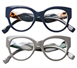 735912a034ce 1, SOOLALA Ladies Modern Fashion Prescription Eyeglass Frame Cat Eye  Reading Glass, BlueGray, 4.0