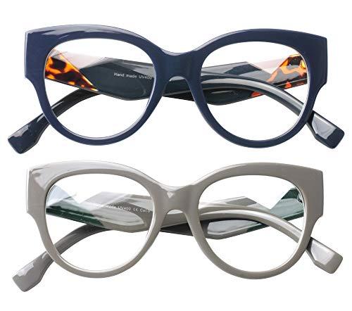 062b513d499b SOOLALA Ladies Modern Fashion Prescription Eyeglass Frame Cat Eye Reading  Glass, BlueGray, 1.5