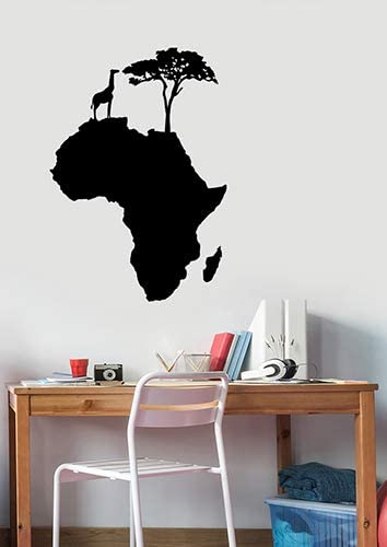 Amazon Com Africa Map Silhouette Vinyl Wall Decal Giraffe Tree Animal Sticker Savannah Art Geography Decorations For Home Living Room Bedroom Decor Afm3 Home Kitchen