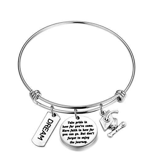 Letters Her - FUSTMW Graduation Gift Take Pride in How Far You Have Come Keychain Inspirational Letters Graduates Gifts for Him/Her