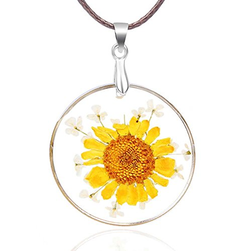 VEINTI+1 New Arrival Creative Natural Dried Flower with Transparent Glass Surface Women/Girl's Fashion Necklace (Circular-Big Sun Flower)