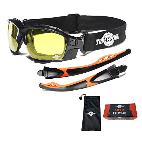ToolFreak Spoggles Safety Glasses for Work and Sport HD Yellow Lens, Anti Glare, Impact Protection, Filter Out Blue Light, Foam Padded, ANSI Z87 Rated, Head Strap and Carry Pouch