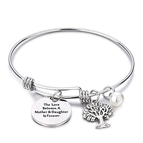 CJ&M Family Tree Bracelet The Love Between Mother and Daughter Is Forever Tree of Life Bracelet Mother Gift Bangle, Christmas Gifts,Mother's Day - Mom Jewelry
