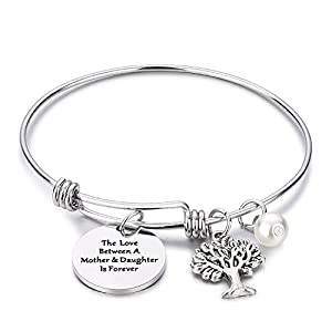 CJ&M Family Tree Bracelet The Love Between Mother and Daughter is Forever Tree of Life Bracelet Mother Gift Bangle