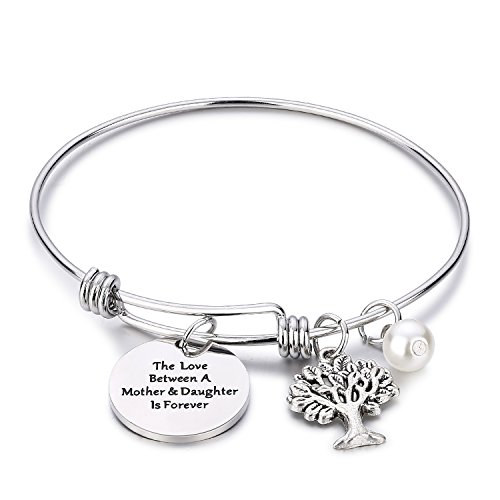 CJ&M Family Tree Bracelet The Love Between Mother and Daughter is Forever Tree of Life Bracelet Mother Gift Bangle]()